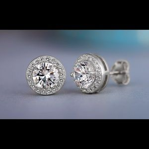 3.4 CTTW Swarovski Sterling Halo Earrings
